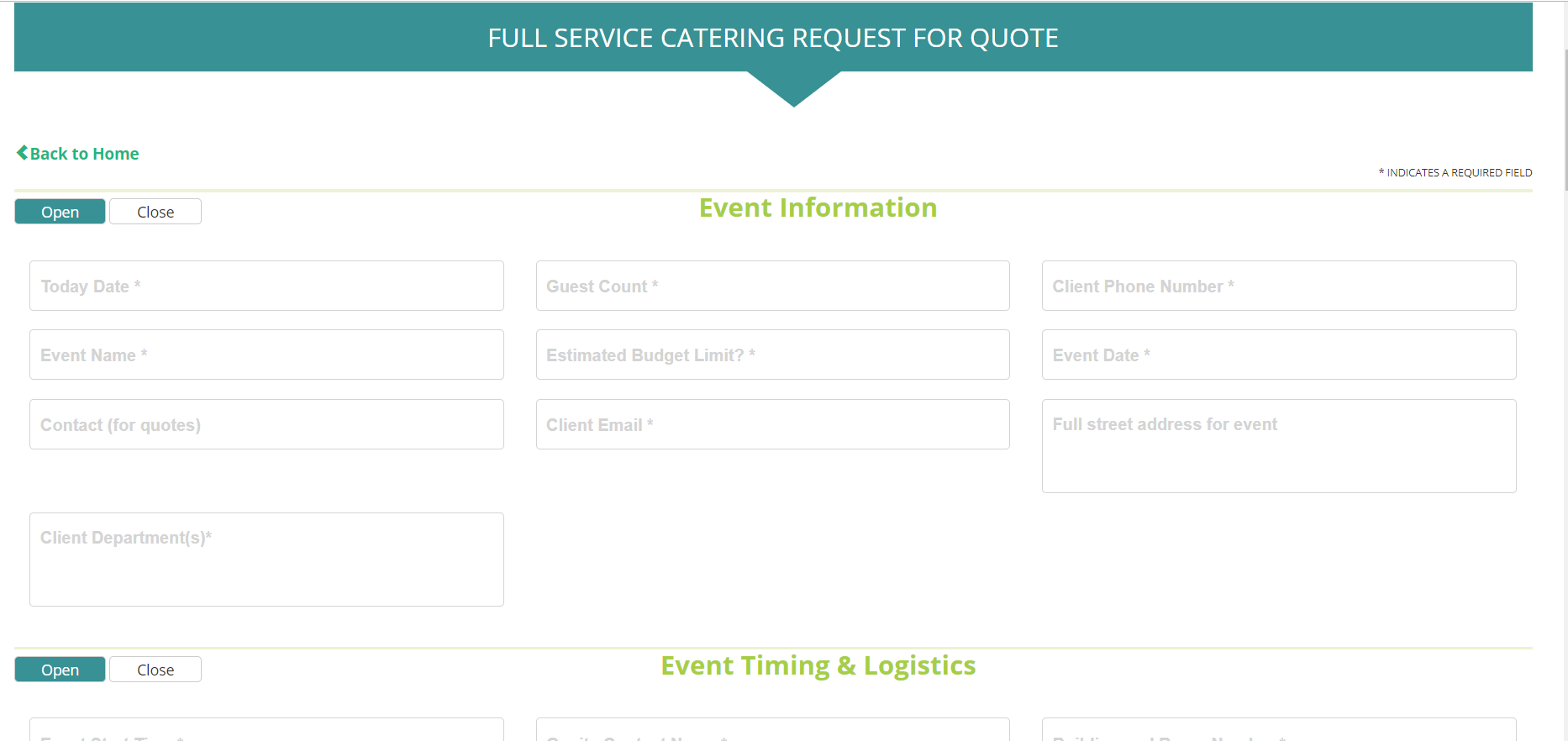 eStores Catering Ordering