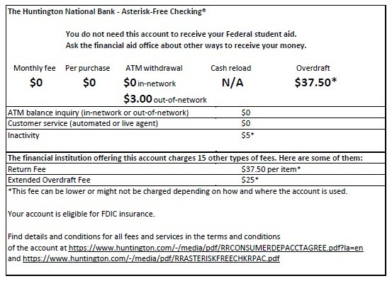 Huntington National Bank Asterisk Free Checking Terms